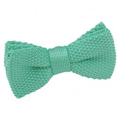 Aquamarine Green Knitted Pre-Tied Bow Tie for Boys
