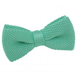 Aquamarine Green Knit Knitted Pre-Tied Bow Tie