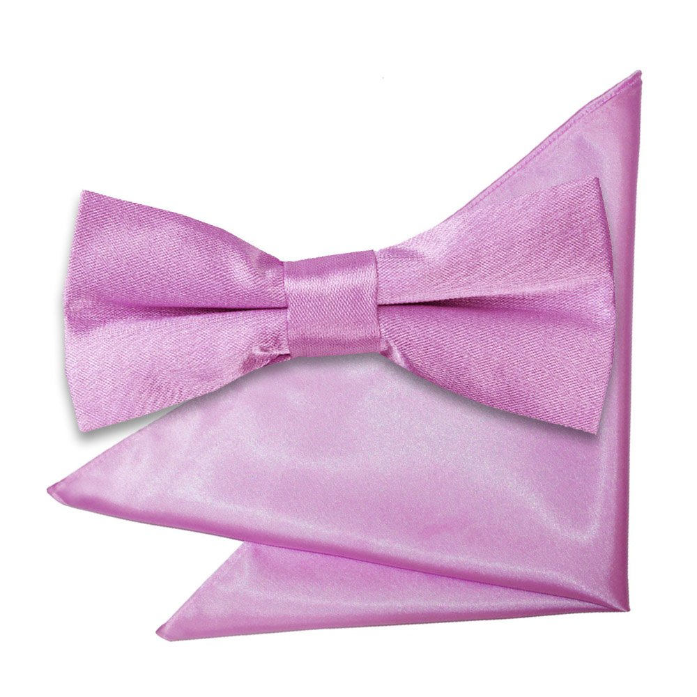 2afff61f60bb4 Lilac Plain Satin Bow Tie & Pocket Square Set for Boys