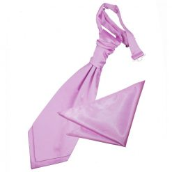 Lilac Plain Satin Wedding Cravat & Pocket Square Set for Boys