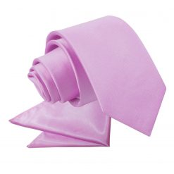 Lilac Plain Satin Tie & Pocket Square Set for Boys