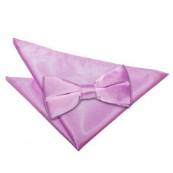 Lilac Plain Satin Bow Tie & Pocket Square Set