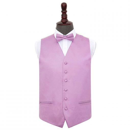 Lilac Plain Satin Wedding Waistcoat & Bow Tie Set