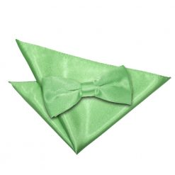 Lime Green Plain Satin Bow Tie & Pocket Square Set