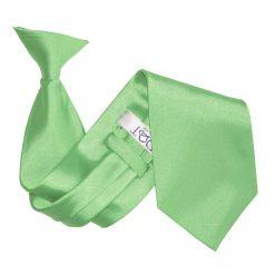 Lime Green Plain Satin Clip On Tie