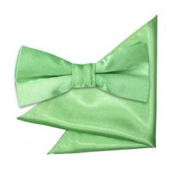Lime Green Plain Satin Bow Tie & Pocket Square Set for Boys