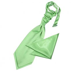 Lime Green Plain Satin Wedding Cravat & Pocket Square Set for Boys
