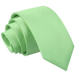 Lime Green Plain Satin Regular Tie for Boys
