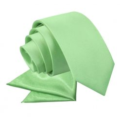 Lime Green Plain Satin Tie & Pocket Square Set for Boys