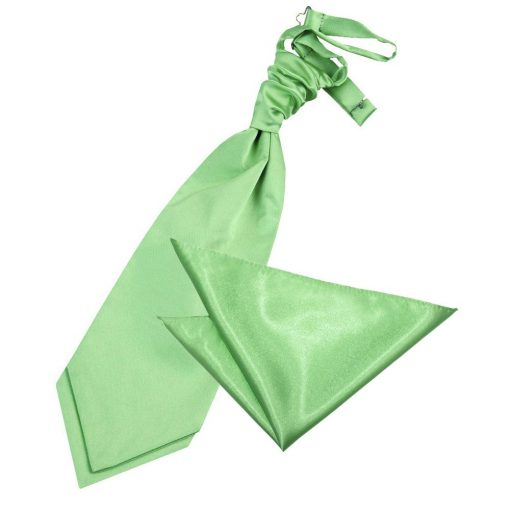 Lime Green Plain Satin Wedding Cravat & Pocket Square Set