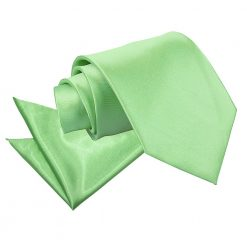 Lime Green Plain Satin Tie & Pocket Square Set