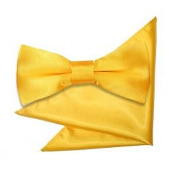 Marigold Plain Satin Bow Tie & Pocket Square Set for Boys