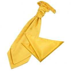 Marigold Plain Satin Wedding Cravat & Pocket Square Set