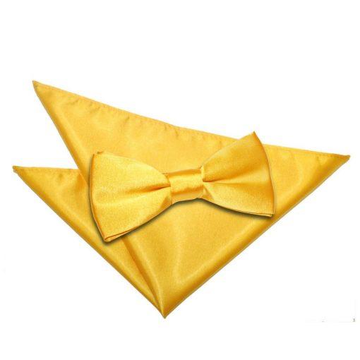 Marigold Plain Satin Bow Tie & Pocket Square Set