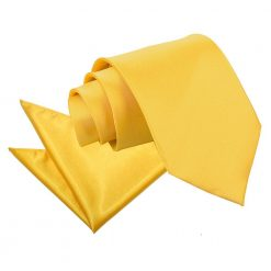 Marigold Plain Satin Tie & Pocket Square Set