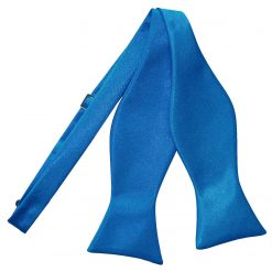 Electric Blue Plain Satin Self-Tie Bow Tie