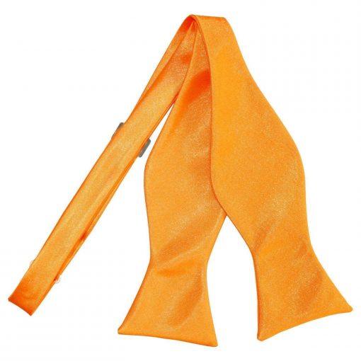 Fluorescent Orange Plain Satin Self-Tie Bow Tie