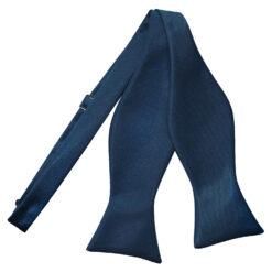 Navy Blue Plain Satin Self-Tie Bow Tie