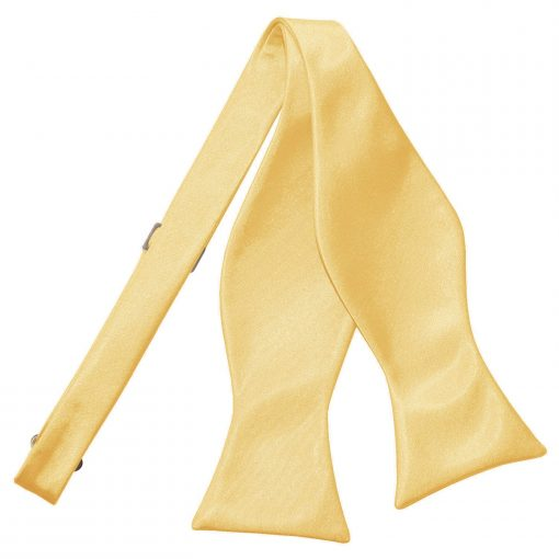 Pale Yellow Plain Satin Self-Tie Bow Tie