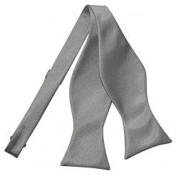 Platinum Plain Satin Self-Tie Bow Tie