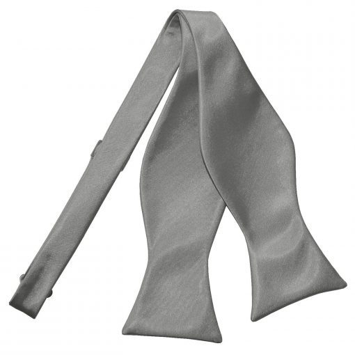 Platinum Plain Satin Self-Tie Bow Tie