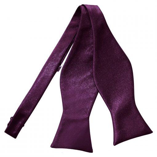 Plum Plain Satin Self-Tie Bow Tie