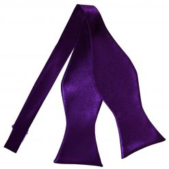 Purple Plain Satin Self-Tie Bow Tie