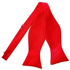 Red Plain Satin Self-Tie Bow Tie