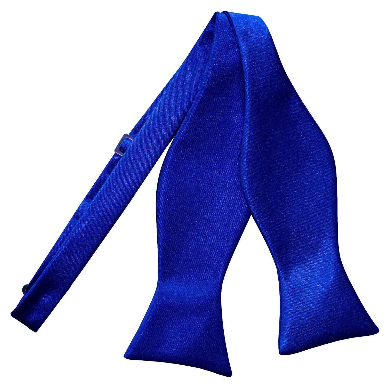Men's Plain Royal Blue Satin Self-Tie Bow Tie