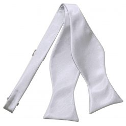 Silver Plain Satin Self-Tie Bow Tie
