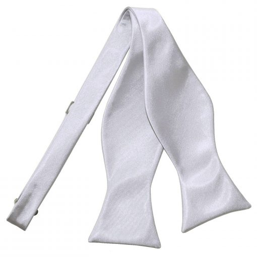 Silver Plain Satin Self-Tie Bow Tie