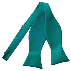 Teal Plain Satin Self-Tie Bow Tie