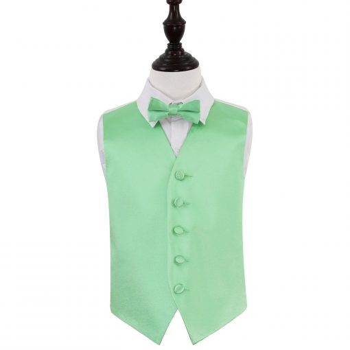 Mint Green Plain Satin Wedding Waistcoat & Bow Tie Set for Boys