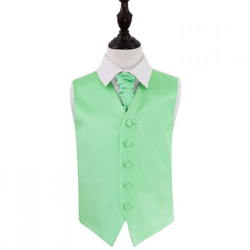 Mint Green Plain Satin Wedding Waistcoat & Cravat Set for Boys