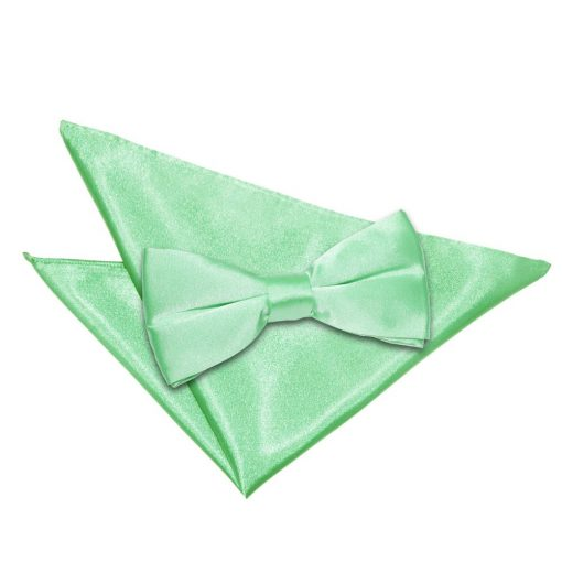 Mint Green Plain Satin Bow Tie & Pocket Square Set