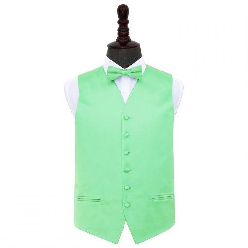 Mint Green Plain Satin Wedding Waistcoat & Bow Tie Set