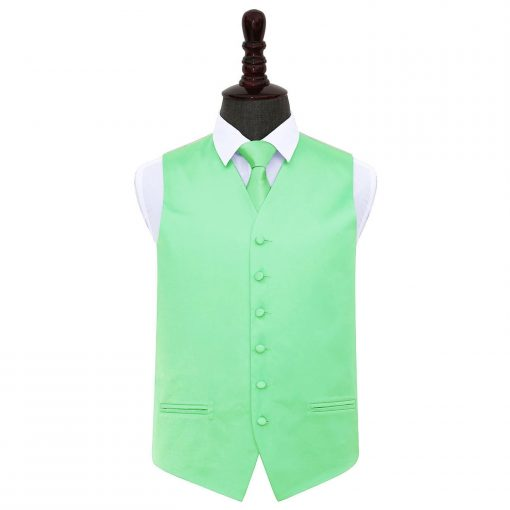 Mint Green Plain Satin Wedding Waistcoat & Tie Set