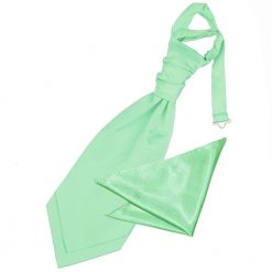 Mint Green Plain Satin Wedding Cravat & Pocket Square Set for Boys