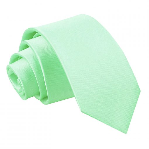 Mint Green Plain Satin Regular Tie for Boys