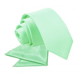 Mint Green Plain Satin Tie & Pocket Square Set for Boys