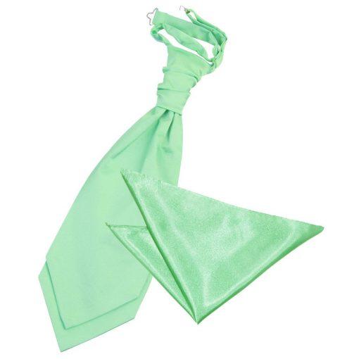 Mint Green Plain Satin Wedding Cravat & Pocket Square Set