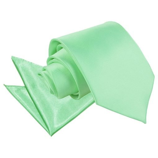 Mint Green Plain Satin Tie & Pocket Square Set