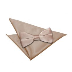 Mocha Brown Plain Satin Bow Tie & Pocket Square Set