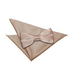 Mocha Brown Plain Satin Bow Tie & Pocket Square Set