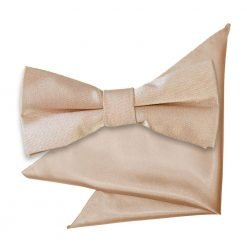 Mocha Brown Plain Satin Bow Tie & Pocket Square Set for Boys