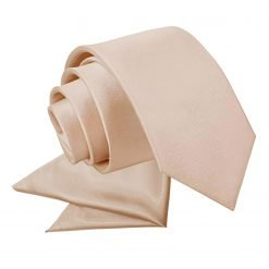 Mocha Brown Plain Satin Tie & Pocket Square Set for Boys