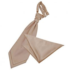 Mocha Brown Plain Satin Wedding Cravat & Pocket Square Set