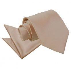 Mocha Brown Plain Satin Tie & Pocket Square Set