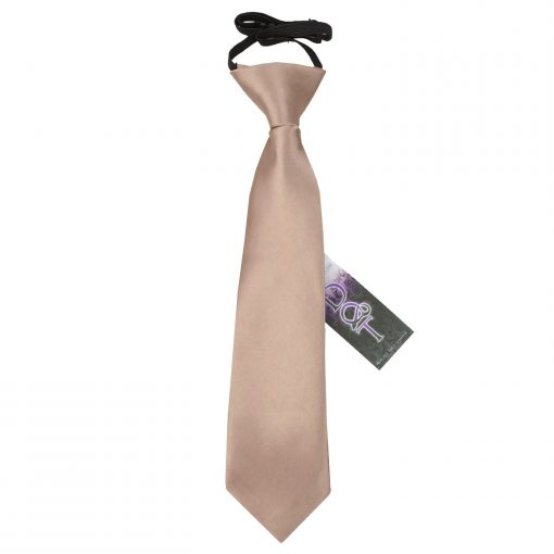 Mocha Brown Plain Satin Elasticated Tie for Boys