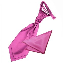 Mulberry Plain Satin Wedding Cravat & Pocket Square Set for Boys
